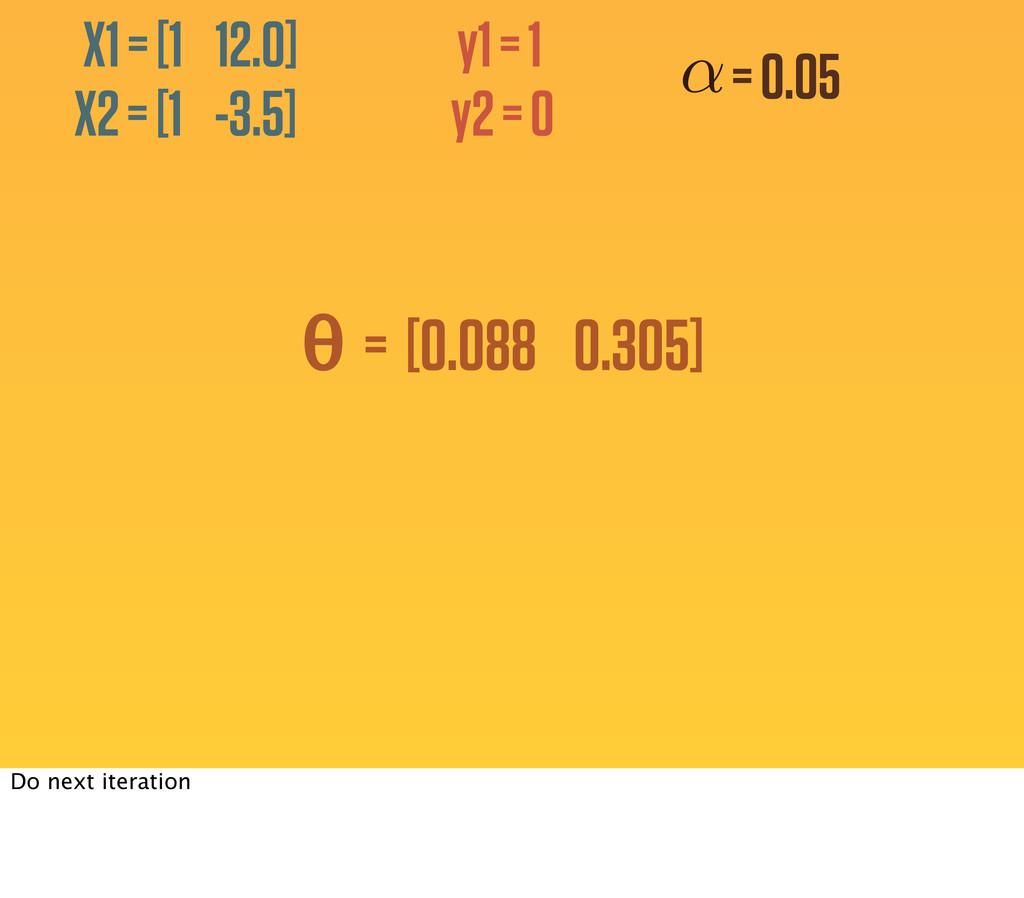 y1 = 1 y2 = 0 X1 = [1 12.0] X2 = [1 -3.5] θ = [...