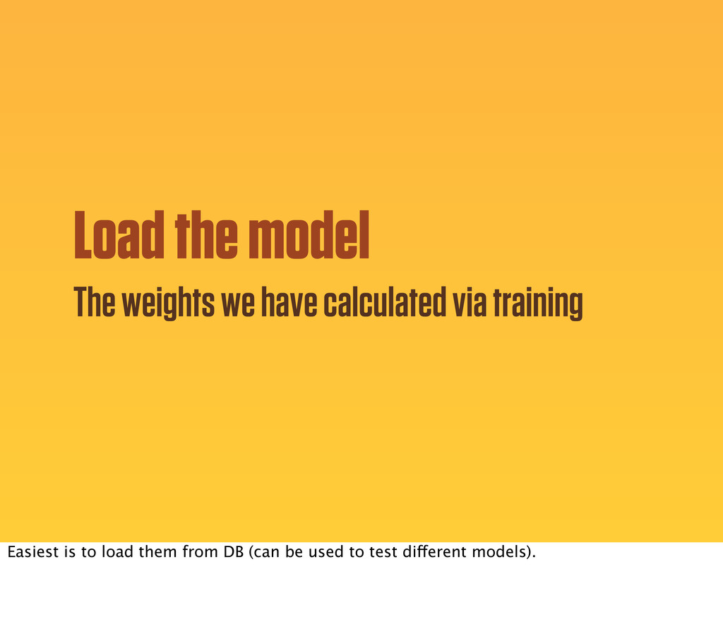 Load the model The weights we have calculated v...