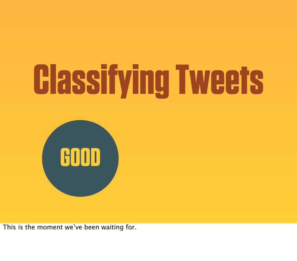 Classifying Tweets GOOD This is the moment we'v...
