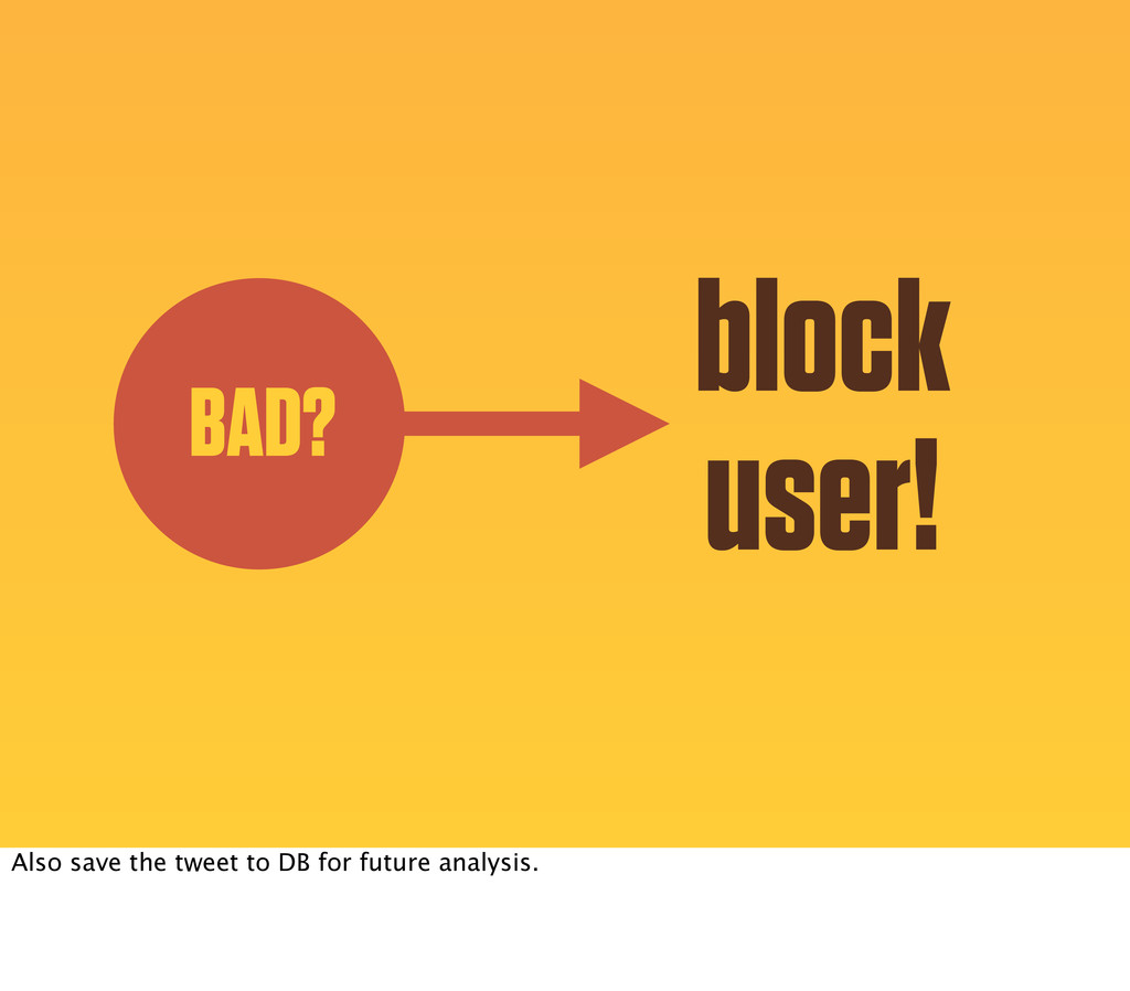 BAD? block user! Also save the tweet to DB for ...