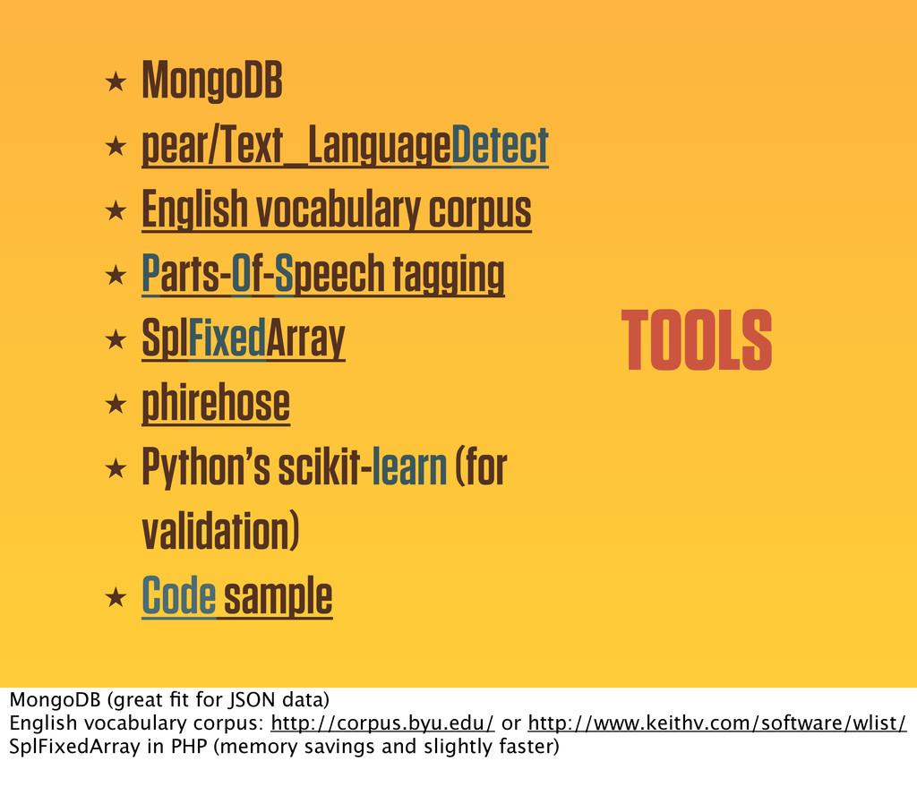 TOOLS ★ MongoDB ★ pear/Text_LanguageDetect ★ En...