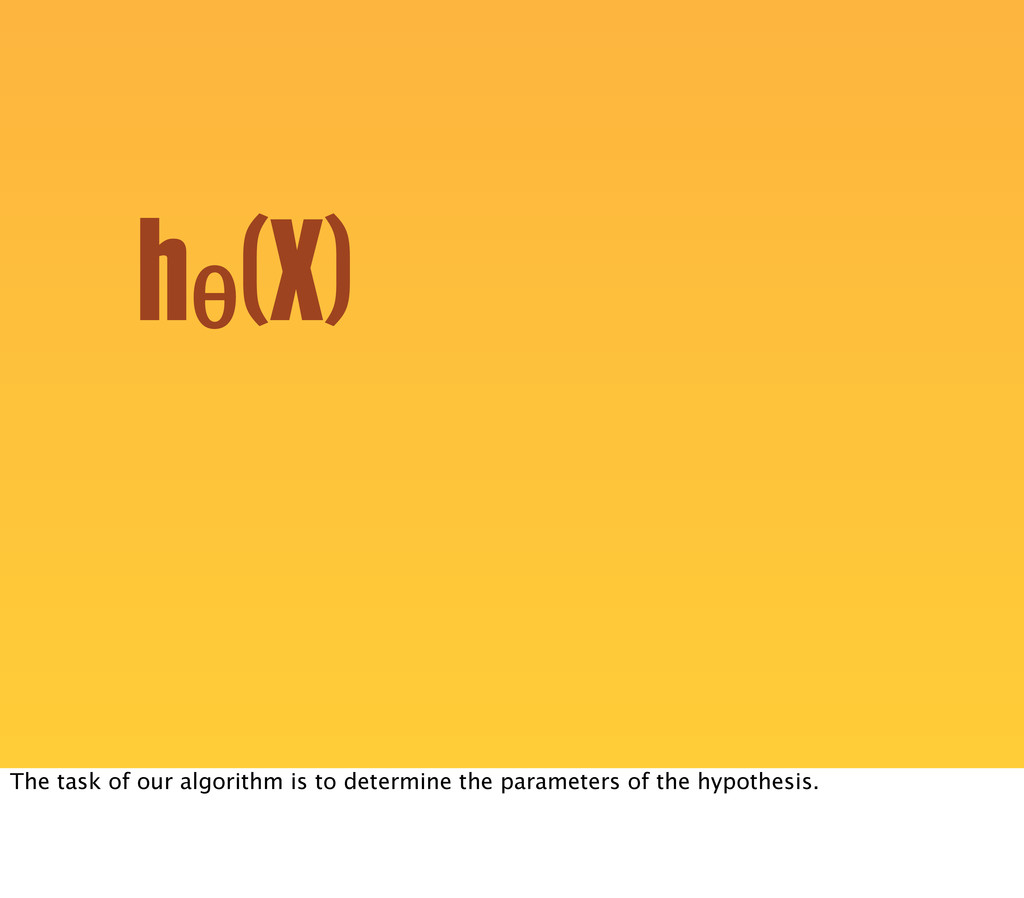 hθ (X) The task of our algorithm is to determin...
