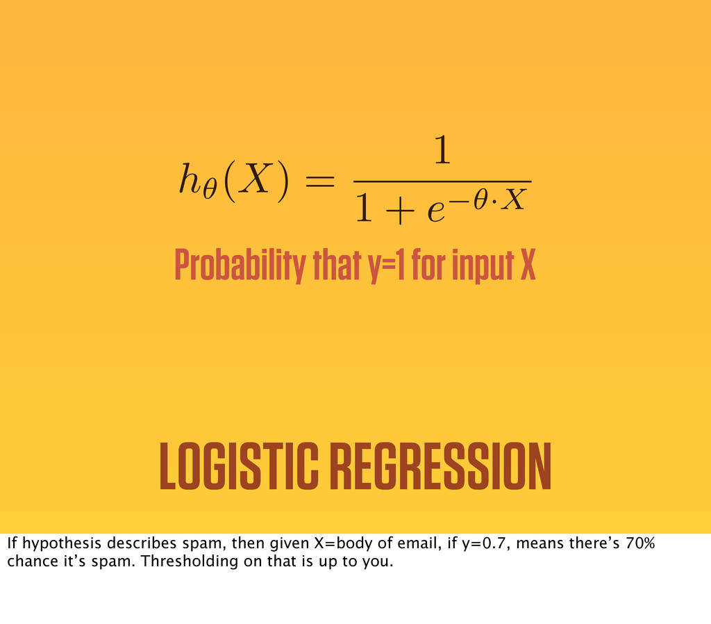 h✓(X) = 1 1 + e ✓·X Probability that y=1 for in...