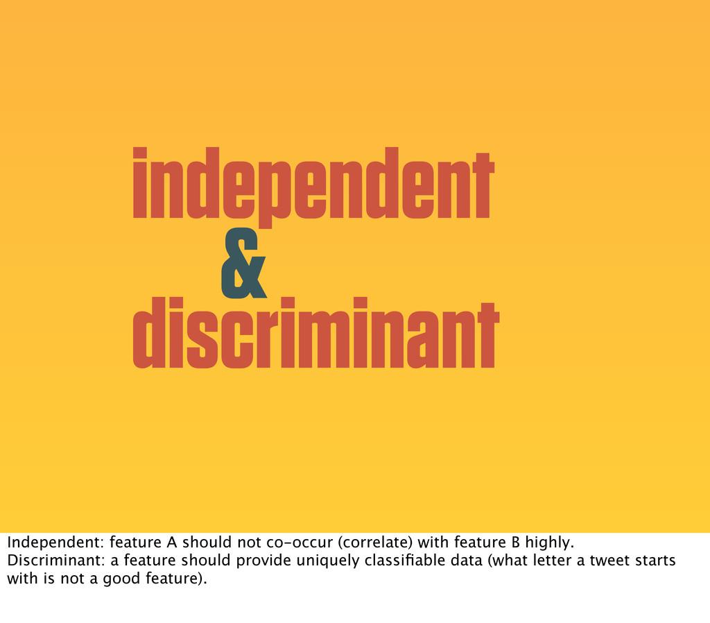 independent & discriminant Independent: feature...