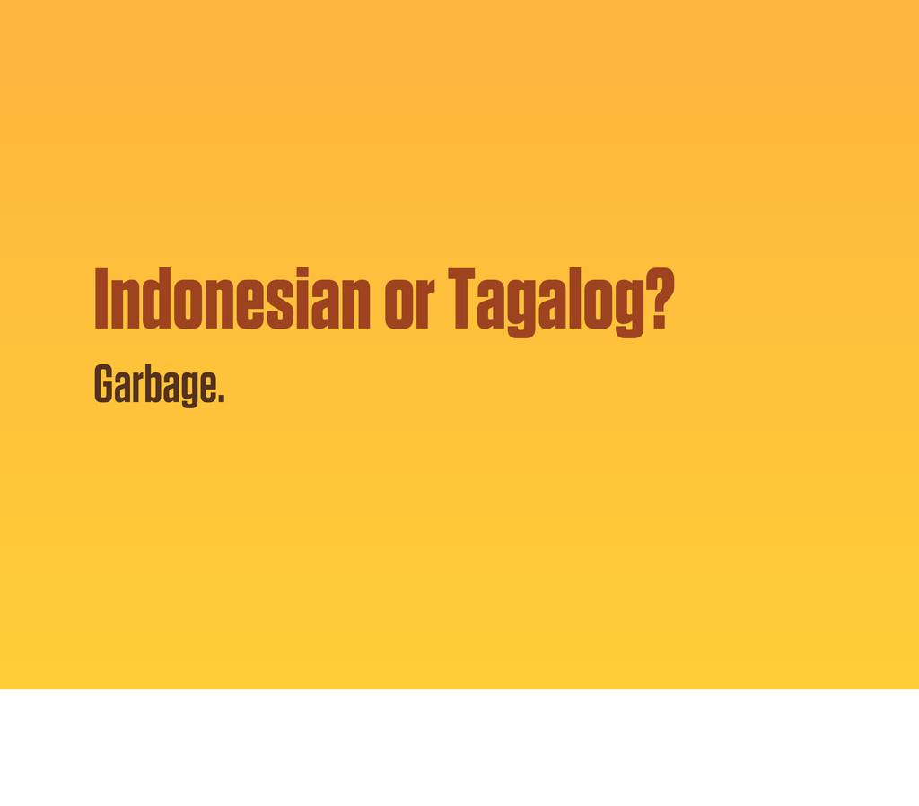 Indonesian or Tagalog? Garbage.