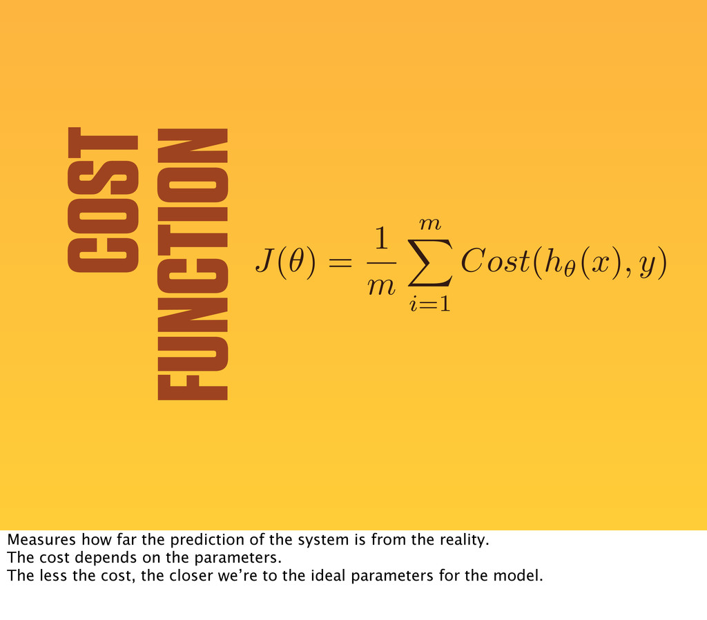COST FUNCTION J ( ✓ ) = 1 m m X i=1 Cost ( h✓( ...