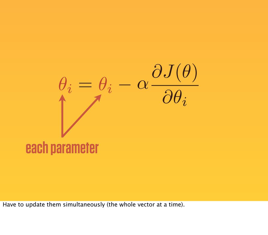 ↵ = each parameter ✓i ✓i @J(✓) @✓i Have to upda...