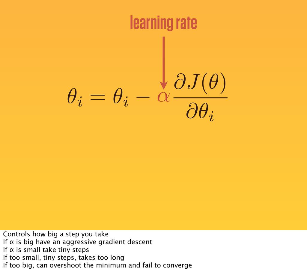 ✓i = ✓i learning rate ↵ @J(✓) @✓i Controls how ...