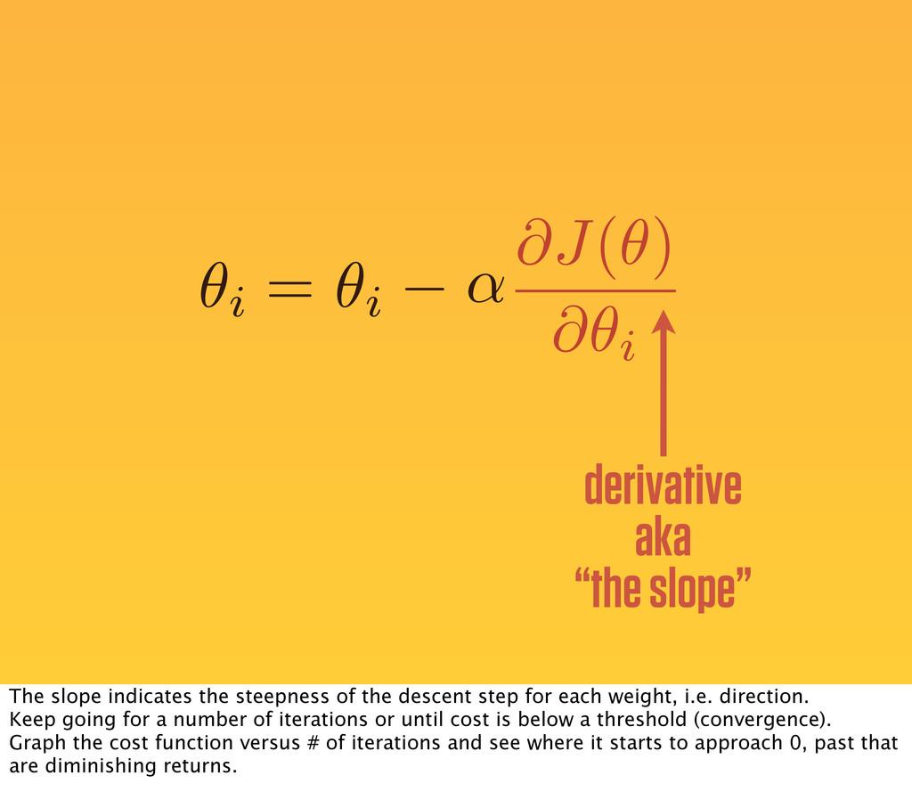 """✓i ↵ = ✓i derivative aka """"the slope"""" @J(✓) @✓i ..."""