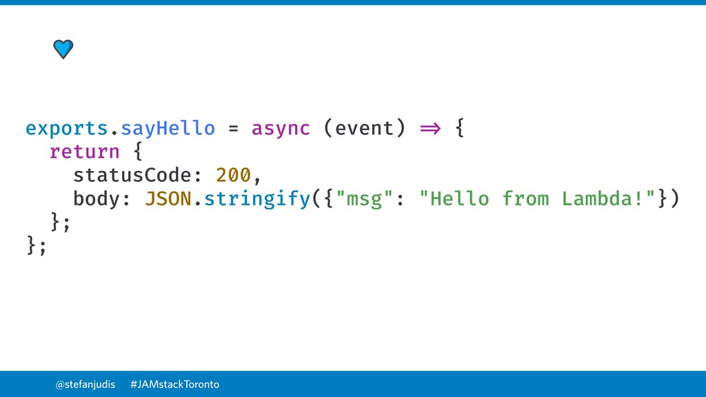 @stefanjudis exports.sayHello = async (event) =...