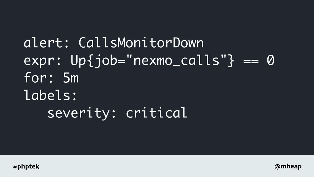 #phptek @mheap alert: CallsMonitorDown expr: Up...