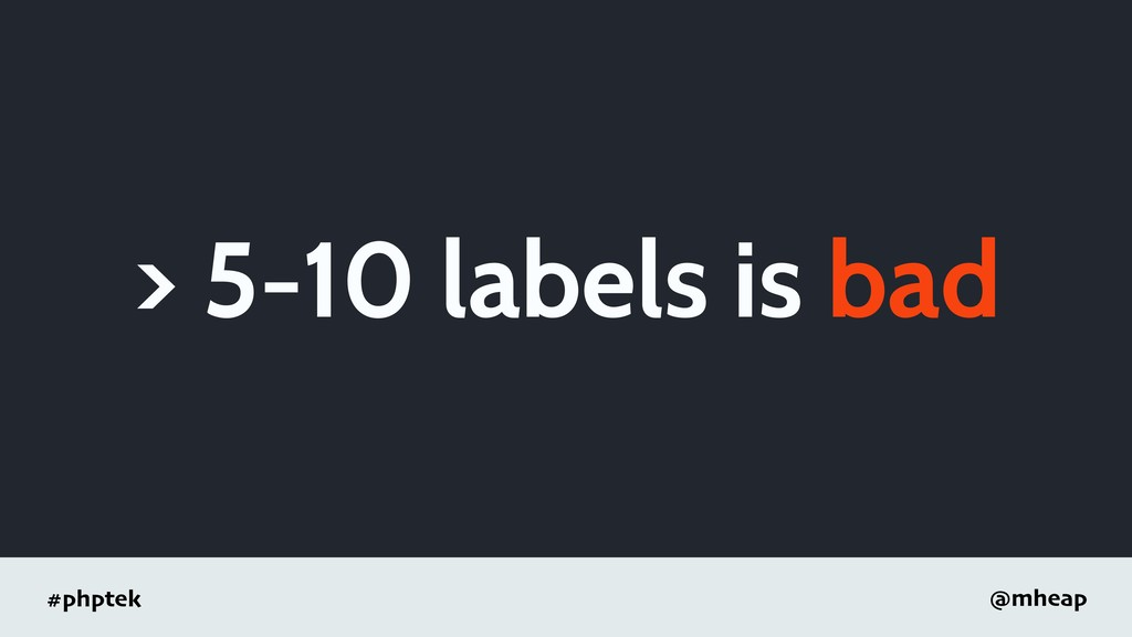 #phptek @mheap > 5-10 labels is bad