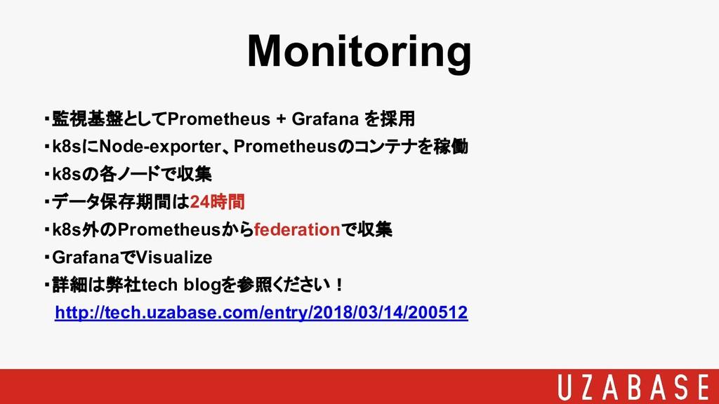 Monitoring ・監視基盤としてPrometheus + Grafana を採用 ・k8...