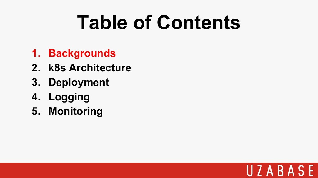 1. Backgrounds 2. k8s Architecture 3. Deploymen...