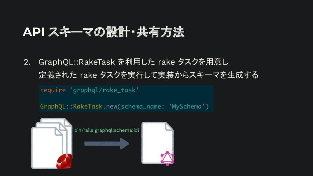 API スキーマの設計・共有方法 2. GraphQL::RakeTask を利用した rak...
