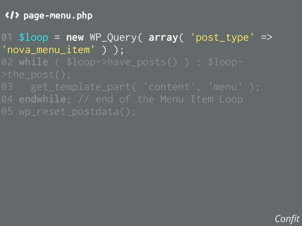 01 $loop = new WP_Query( array( 'post_type' => ...