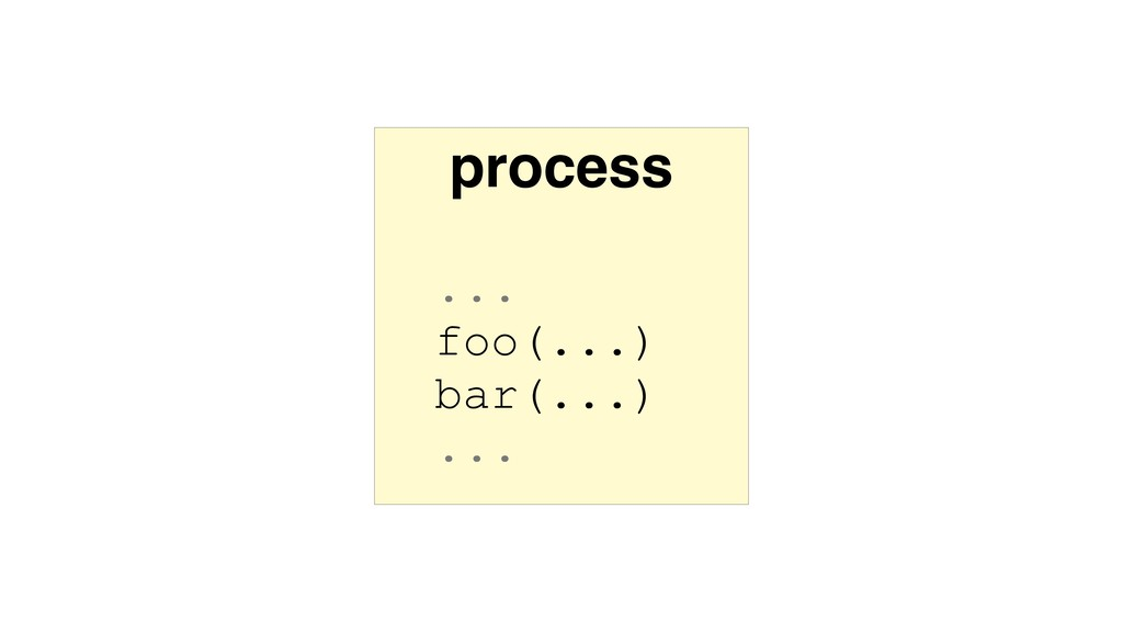 process ... foo(...) bar(...) ...