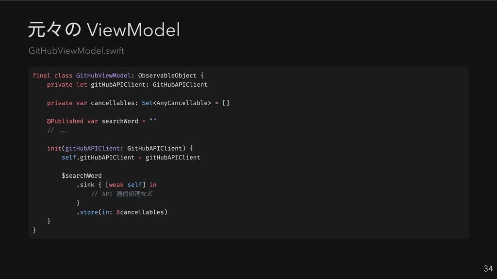 元々の ViewModel 34 GitHubViewModel.swift final cl...