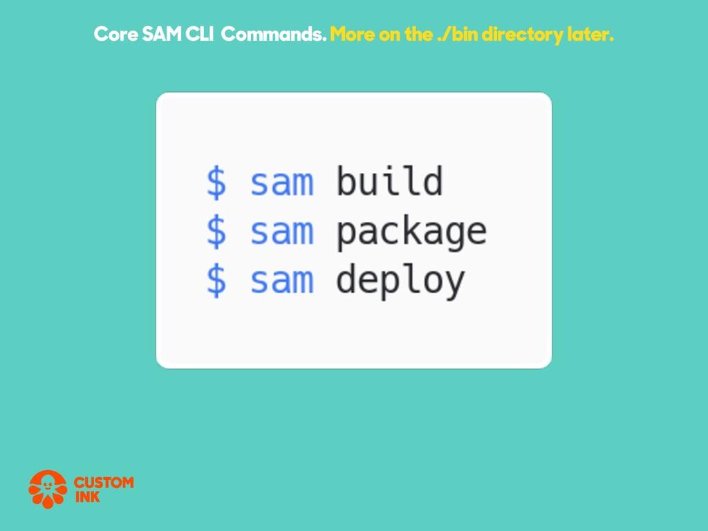 Core SAM CLI Commands. More on the ./bin direct...