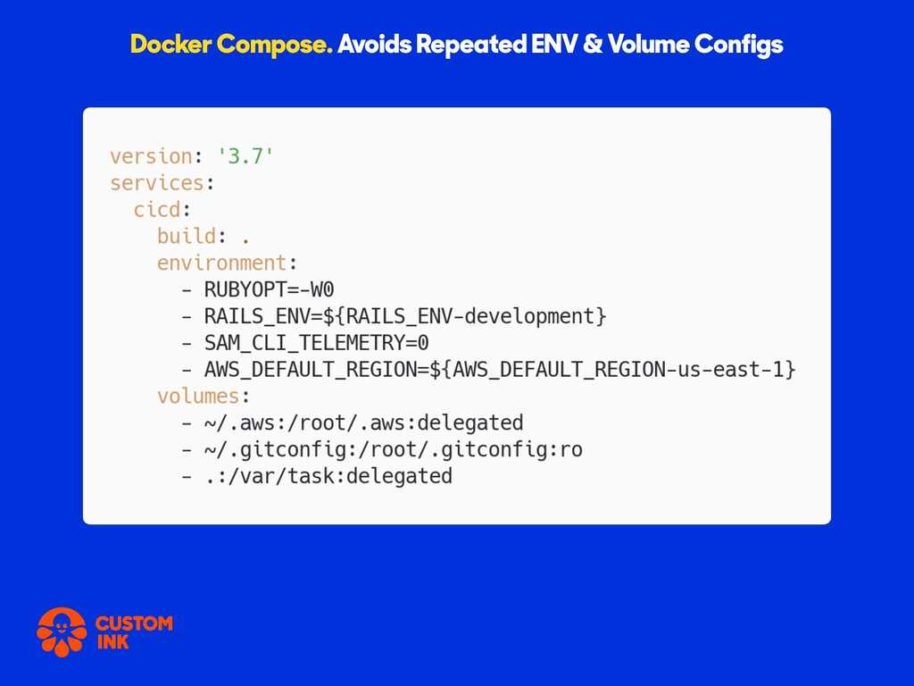 Docker Compose. Avoids Repeated ENV & Volume Co...