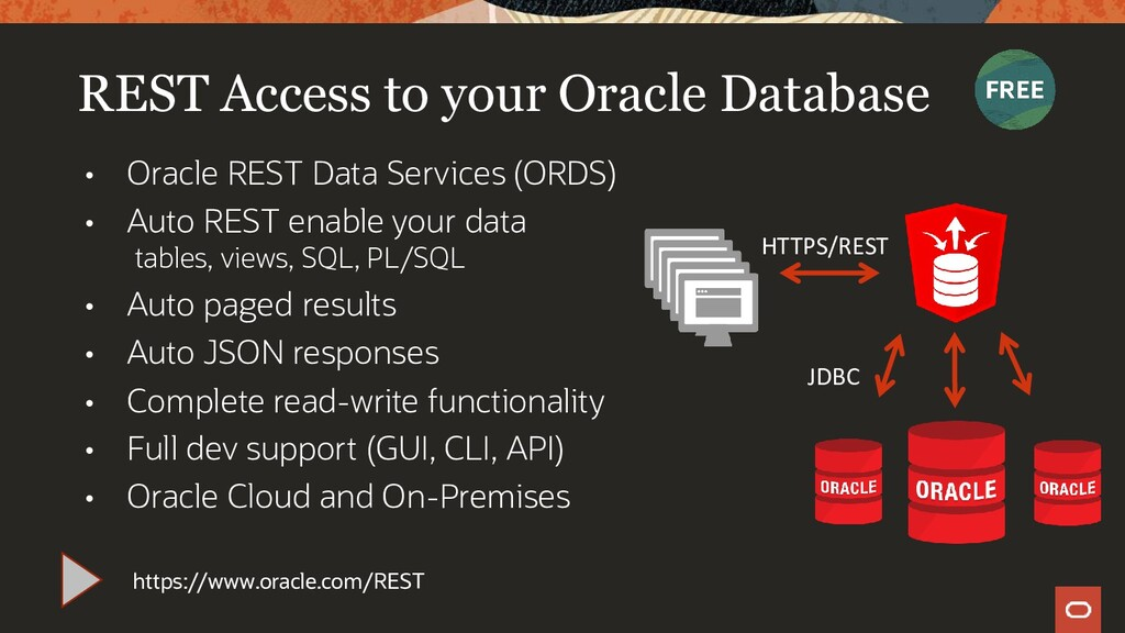 • Oracle REST Data Services (ORDS) • Auto REST ...
