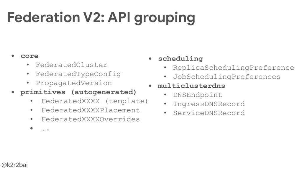 @k2r2bai Federation V2: API grouping