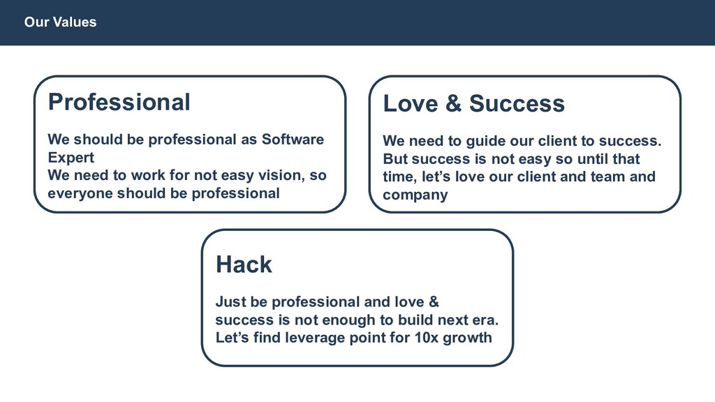 Hack Just be professional and love & success is...