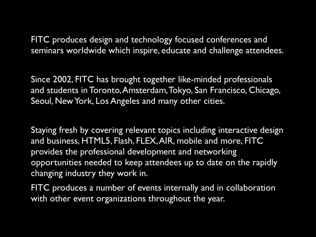 FITC produces design and technology focused con...