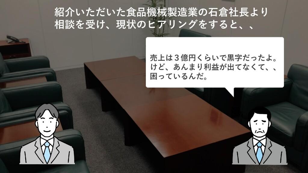 売上は3億円くらいで黒字だったよ。 けど、あんまり利益が出てなくて、、 困っているんだ。 紹介...