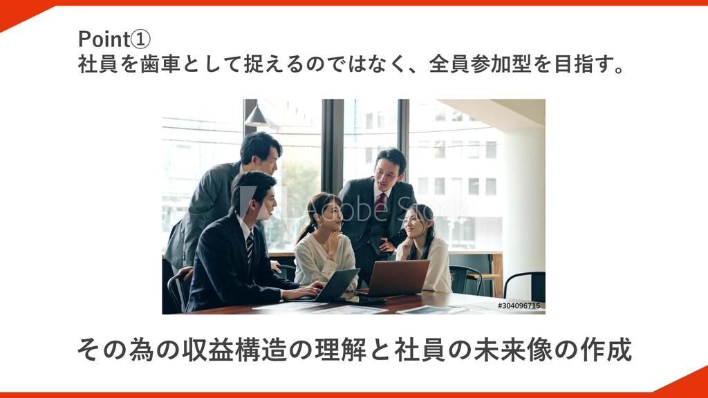 その為の収益構造の理解と社員の未来像の作成 Point① 社員を歯車として捉えるのではなく、全...