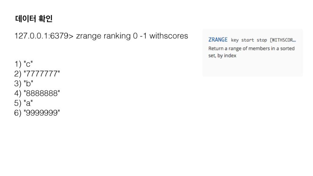 ؘఠ ഛੋ 127.0.0.1:6379> zrange ranking 0 -1 with...