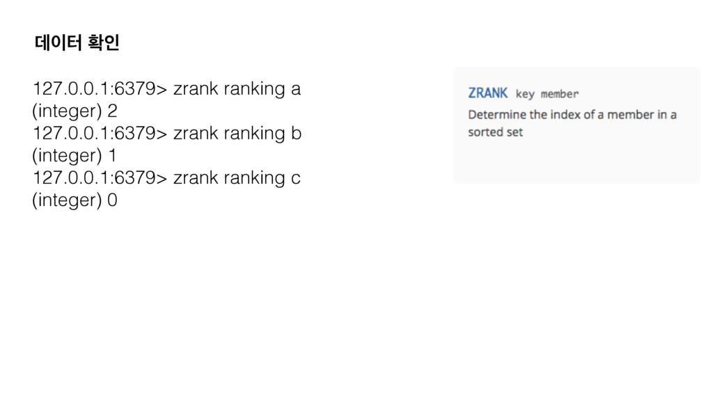 ؘఠ ഛੋ 127.0.0.1:6379> zrank ranking a (integer...