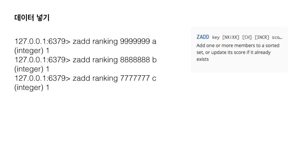 ؘఠ ֍ӝ 127.0.0.1:6379> zadd ranking 9999999 a (...