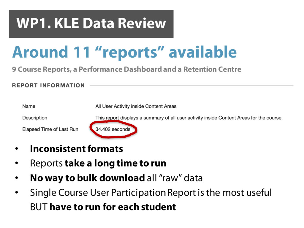 WP1. KLE Data Review ✓ ✖ • Inconsistent formats...