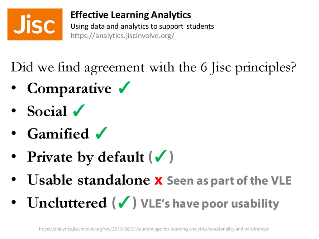 Did we find agreement with the 6 Jisc principle...