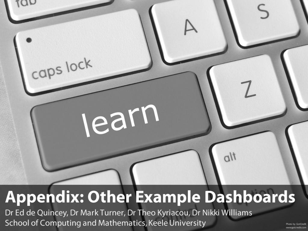 Appendix: Other Example Dashboards Dr Ed de Qui...