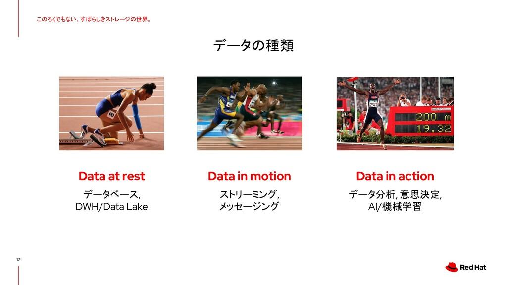 12 データの種類 このろくでもない、すばらしきストレージの世界。 Data at rest ...
