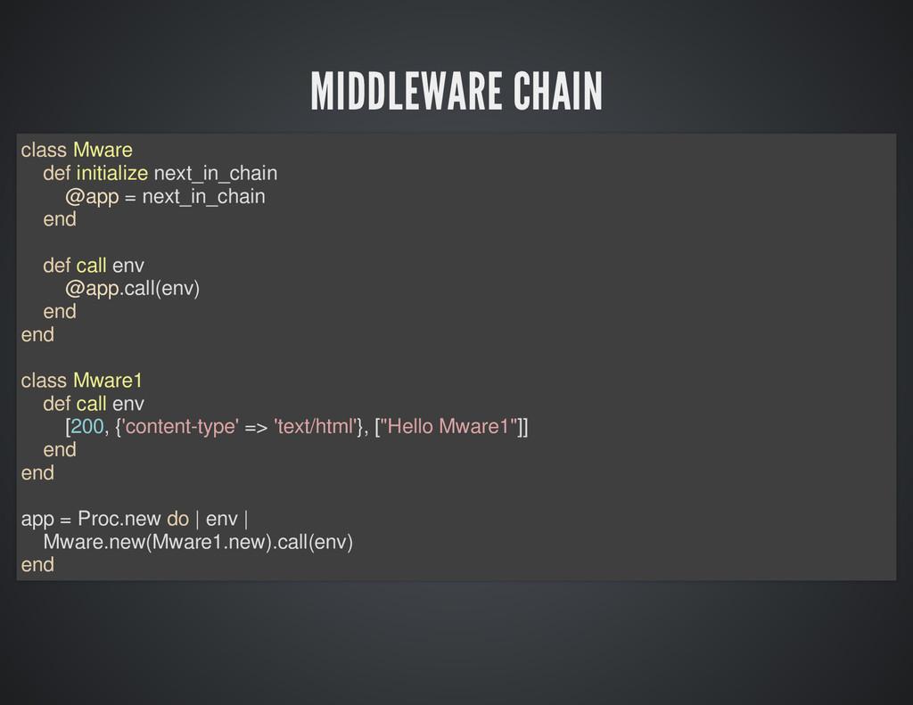 MIDDLEWARE CHAIN class Mware def initialize nex...