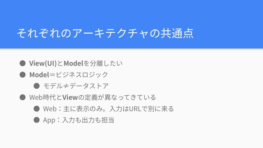 それぞれのアーキテクチャの共通点 ● View(UI)とModelを分離したい ● Model...