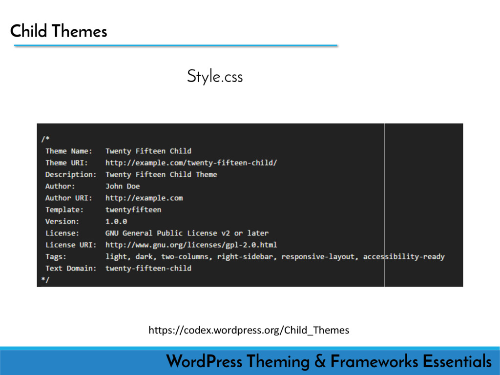 Child Themes WordPress Theming & Frameworks Ess...