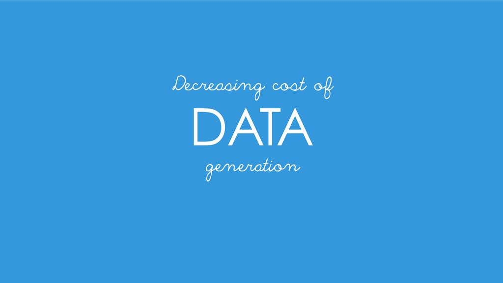 DATA generation Decreasing cost of