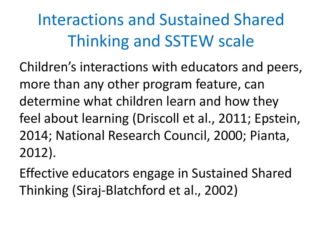 Interactions and Sustained Shared Thinking and ...