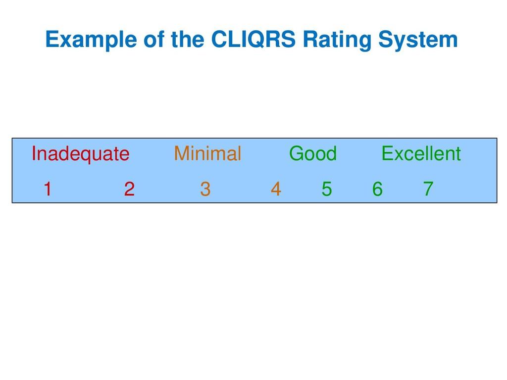 Inadequate Minimal Good Excellent 1 2 3 4 5 6 7...