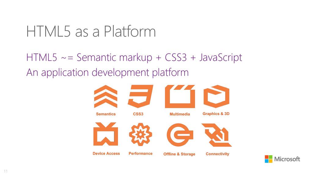 HTML5 as a Platform HTML5 ~= Semantic markup + ...