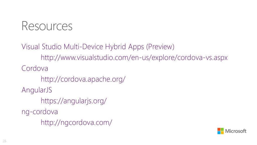 Resources Visual Studio Multi-Device Hybrid App...
