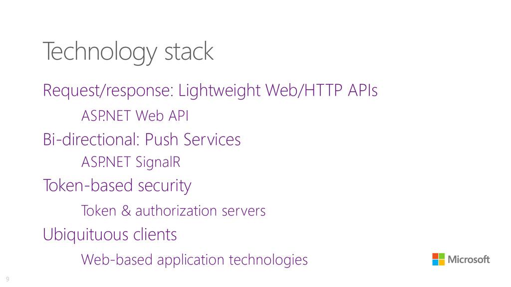 Technology stack Request/response: Lightweight ...