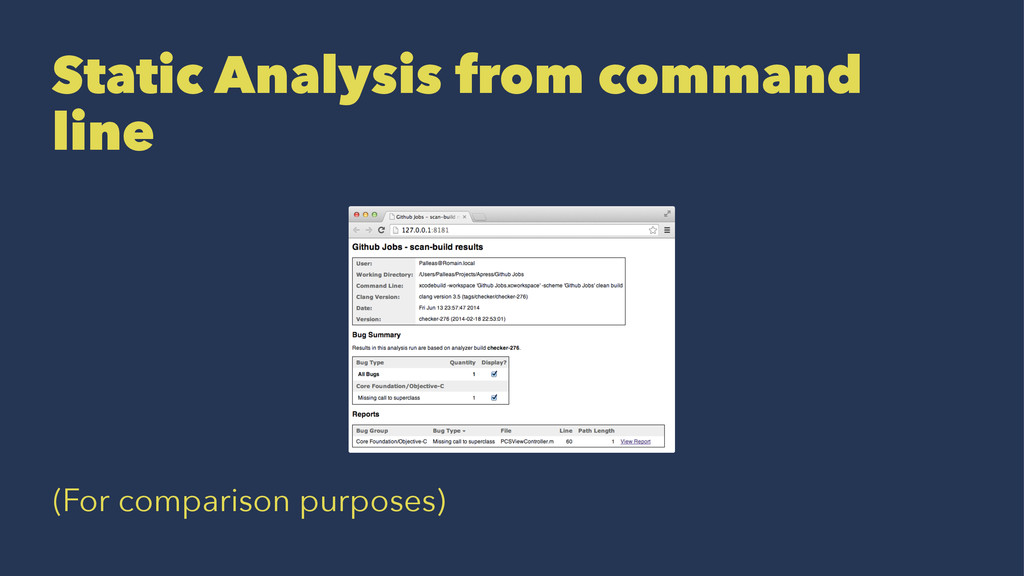 Static Analysis from command line (For comparis...