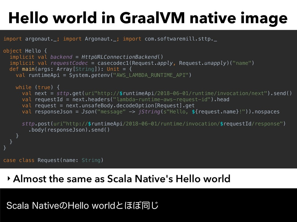 Hello world in GraalVM native image ‣ Almost th...