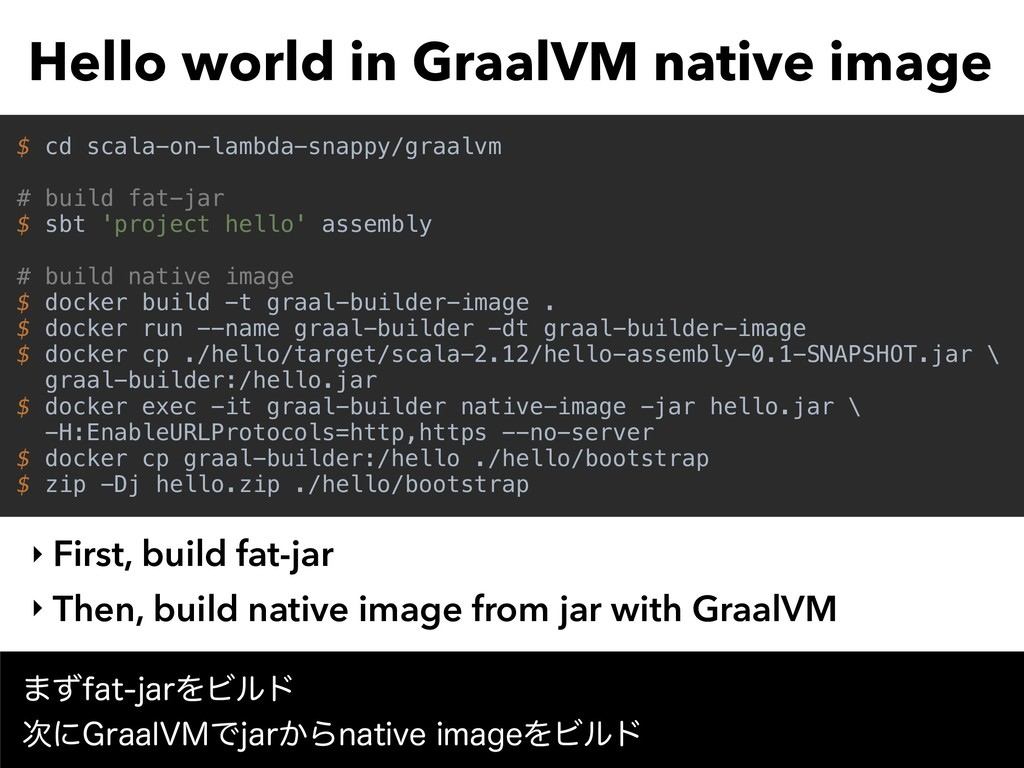 Hello world in GraalVM native image ‣ First, bu...