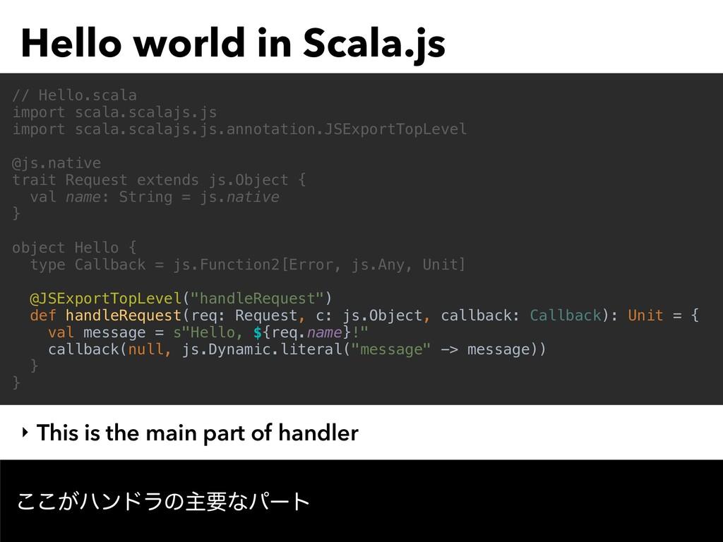 Hello world in Scala.js ͕͜͜ϋϯυϥͷओཁͳύʔτ // Hello...